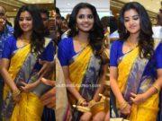 anupama parameswaran yellow pattu saree chandana brothers shopping mall launch