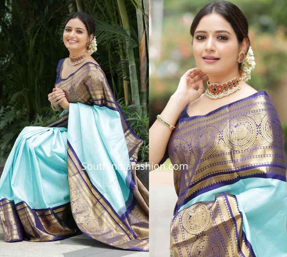 ashika rangnath blue kanjeevaram saree (2)