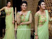 athulya ravi green saree gown