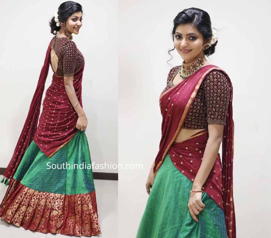 athulya ravi half saree