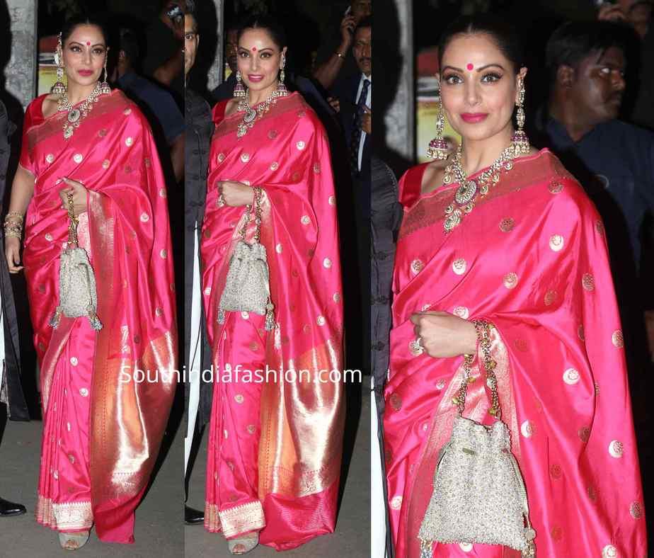 bipasha basu pink banarasi silk saree at bachchan diwali party
