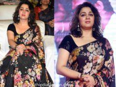 charmi in black floral sabyasachi saree at meeku maatrame chepta pre release event (1)