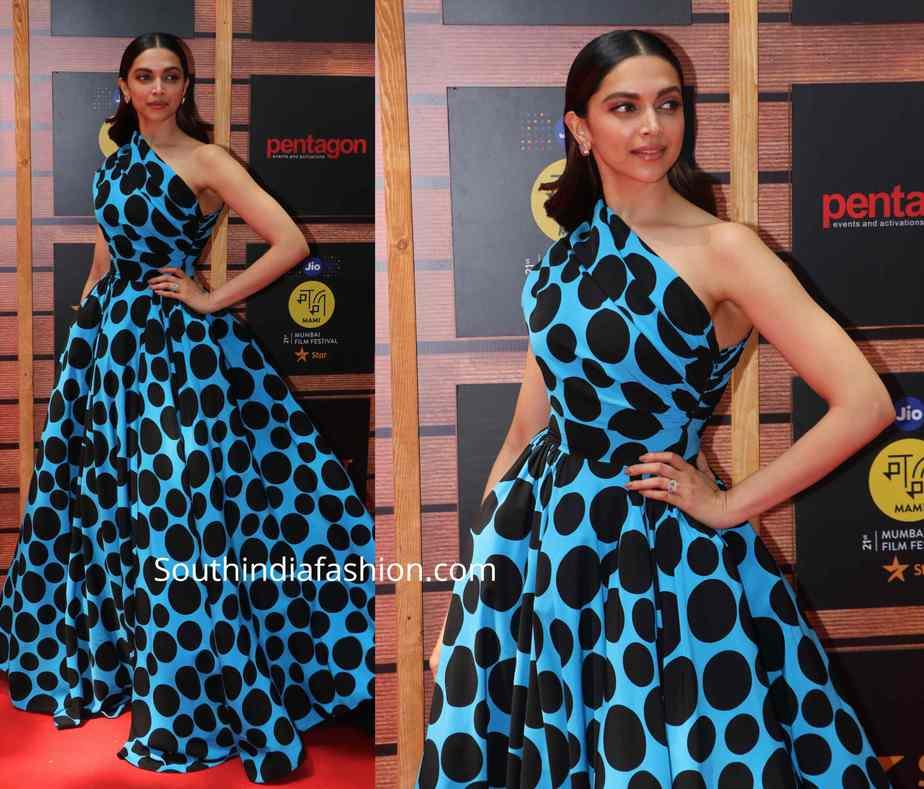 deepika padukone blue black polka dot gown (1)