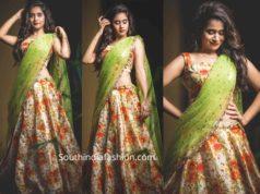 deepthi sunaina floral half saree