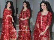 divya khosla kumar red sharara suit for karwa chauth 2019