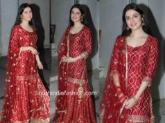 divya khosla kumar red sharara suit for karwa chauth 2019