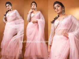 eesha rebba in pink ruffle saree