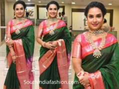 hari teja green pattu saree at tbz collection launch