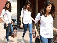 janhvi kapoor in jeans and white shirt