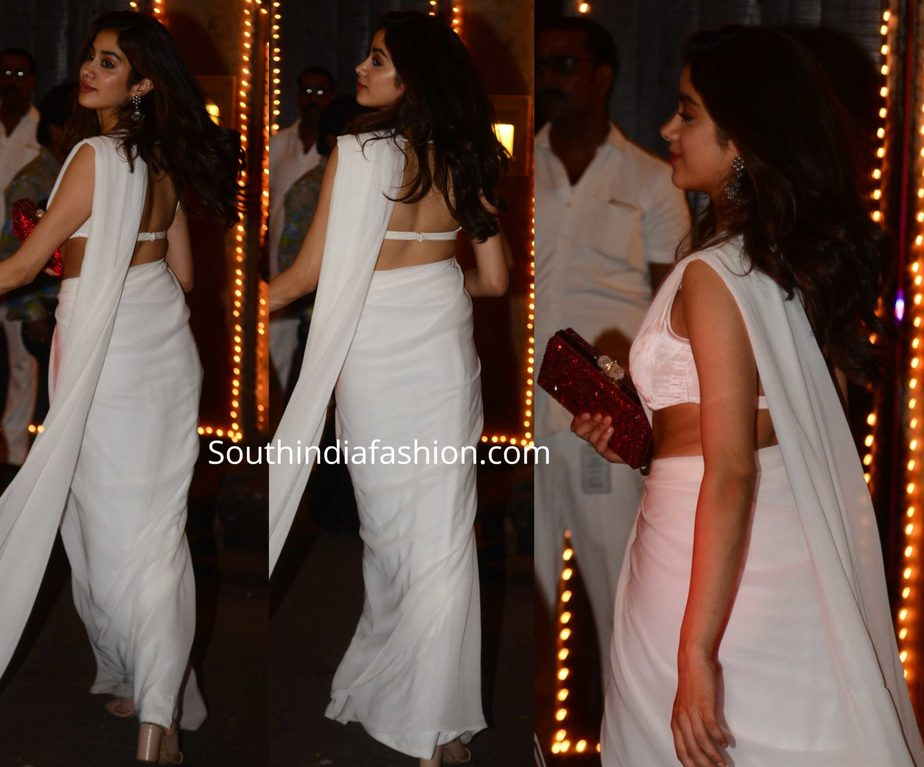 janhvi kapoor white saree at sonam kapoor diwali party
