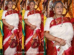 jaya bachchan white silk saree durga puja celebrations