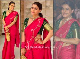kajol in pink saree and green blouse at durga puja 2019