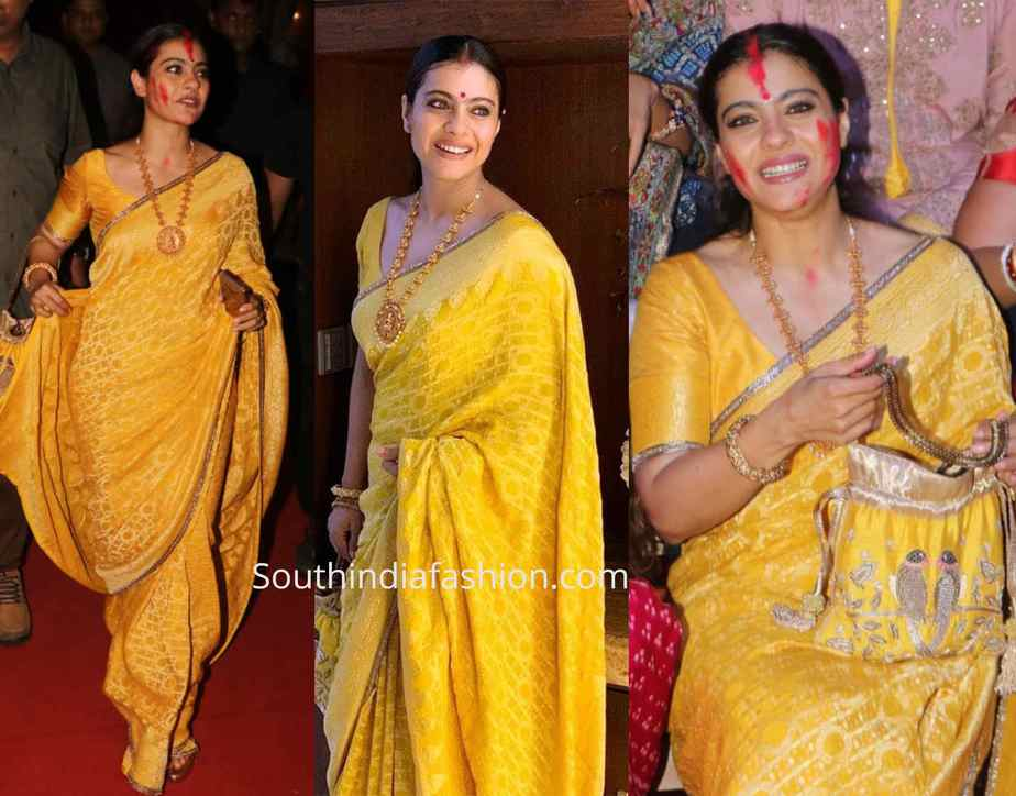 kajol yellow saree durga puja celebrations 2019
