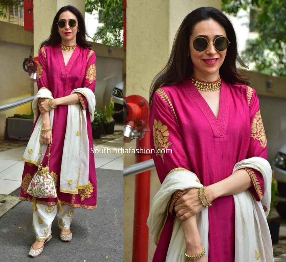 karishma kapoor pink salwar kameez diwali celebrations 2019