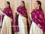 karisma kapoor white anarkali with purple banarasi dupatta