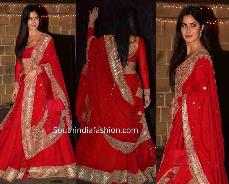 katrina kaif in red sabyasachi lehenga at diwali party (1)