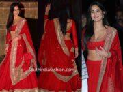 katrina kaif in red sabyasachi lehenga at diwali party (2)