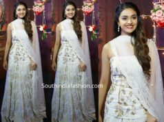 keerthy suresh white lehenga at wonder woman awards 2019