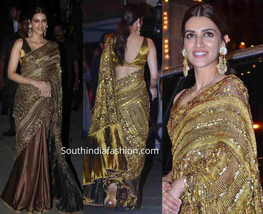 kriti sanon in golden manish malhotra saree at diwali party 2019