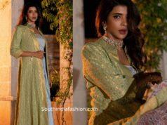 lakshmi manchu draped gown with jacket