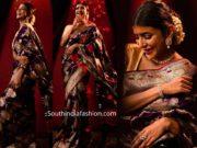 lakshmi manchu purple banarasi silk saree