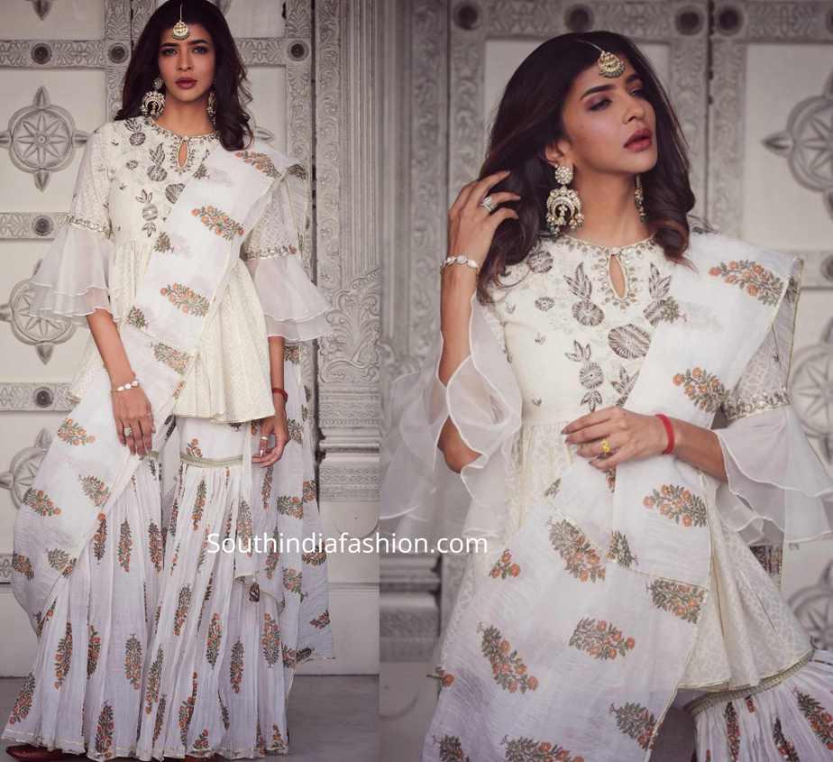 lakshmi manchu white sharara suit