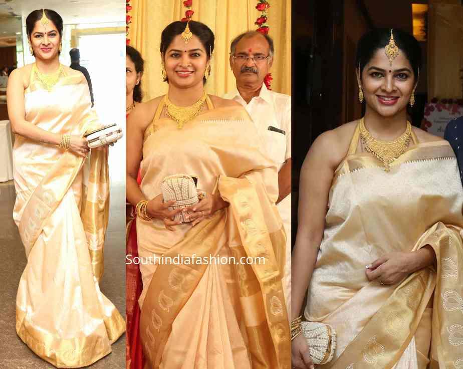 madhumita sivabalaji silk saree at archana engagement