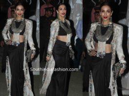 malaika arora in black and white anamika khanna outfit at diwali party 2019