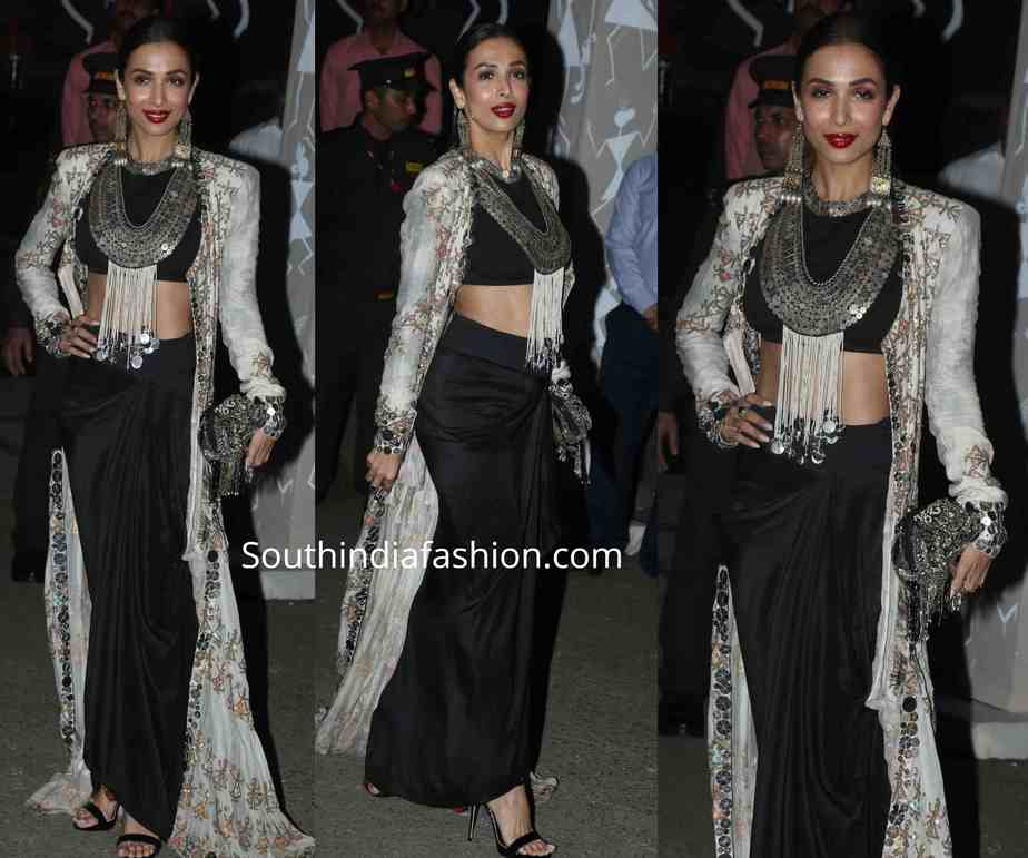 malaika arora in black and white anamika khanna outfit at diwali party 2019