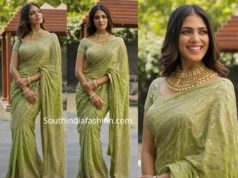 malavika mohanan green saree by ritu kumar