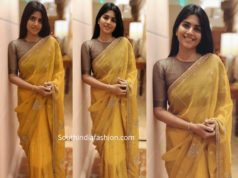 megha akasha yellow saree diwali 2019