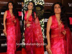 mini mathur pink printed saree