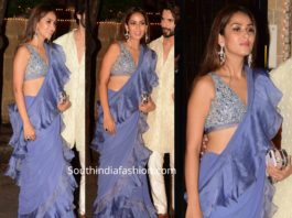mira kapoor lavender ruffle saree at sonam kapoor diwali party
