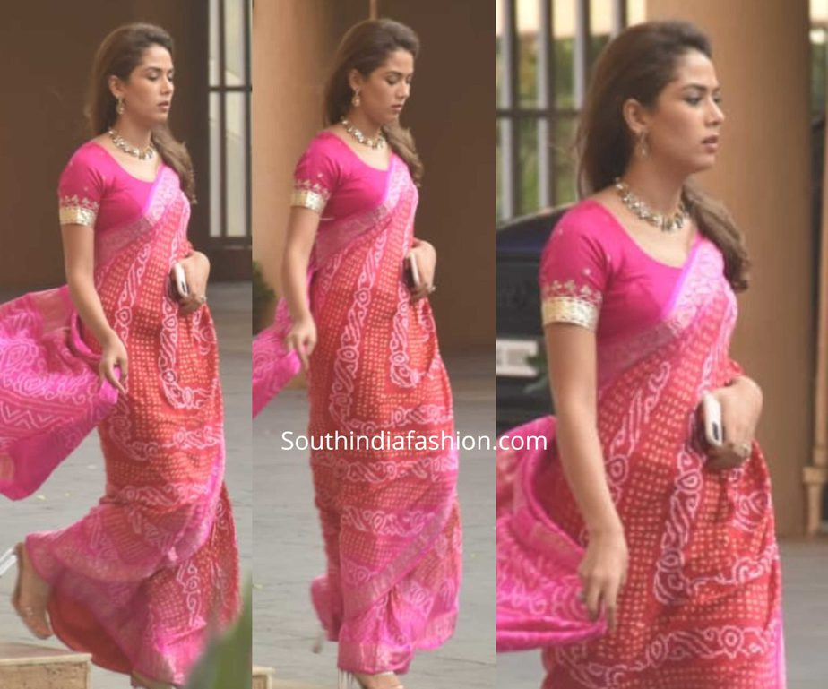 mira rajput red bandhani saree at karwa chauth celebrations 2019