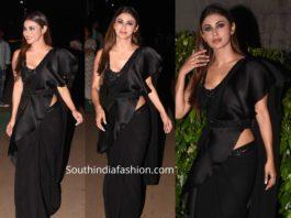 mouni roy black ruffle saree with belt