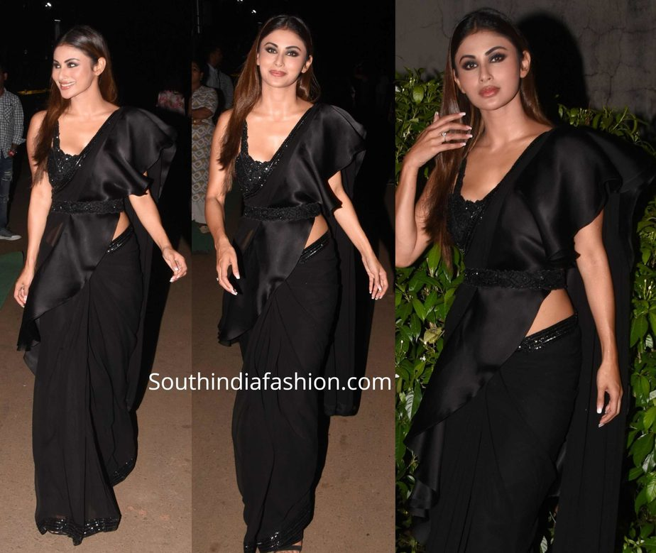 mouni roy black ruffle saree with belt