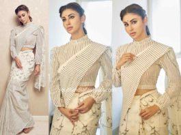 mouni roy white saree with striped blouse