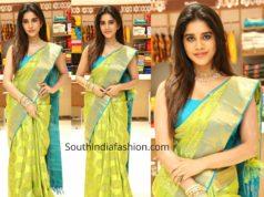 nabha natesh green kanchipuram saree at srika shopping mall launch (2)