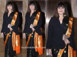 neeta lulla black silk saree at ramesh taurani diwali party 2019