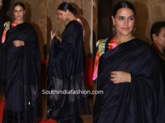 neha dhupia in black silk saree with striped blouse at ramesh taurani diwali party 2019