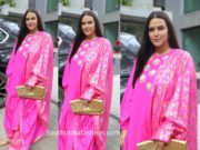 neha dhupia in pink masaba outfit for diwali puja
