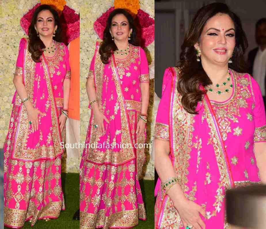 nita ambani pink lehenga at diwali party 2019 (1)