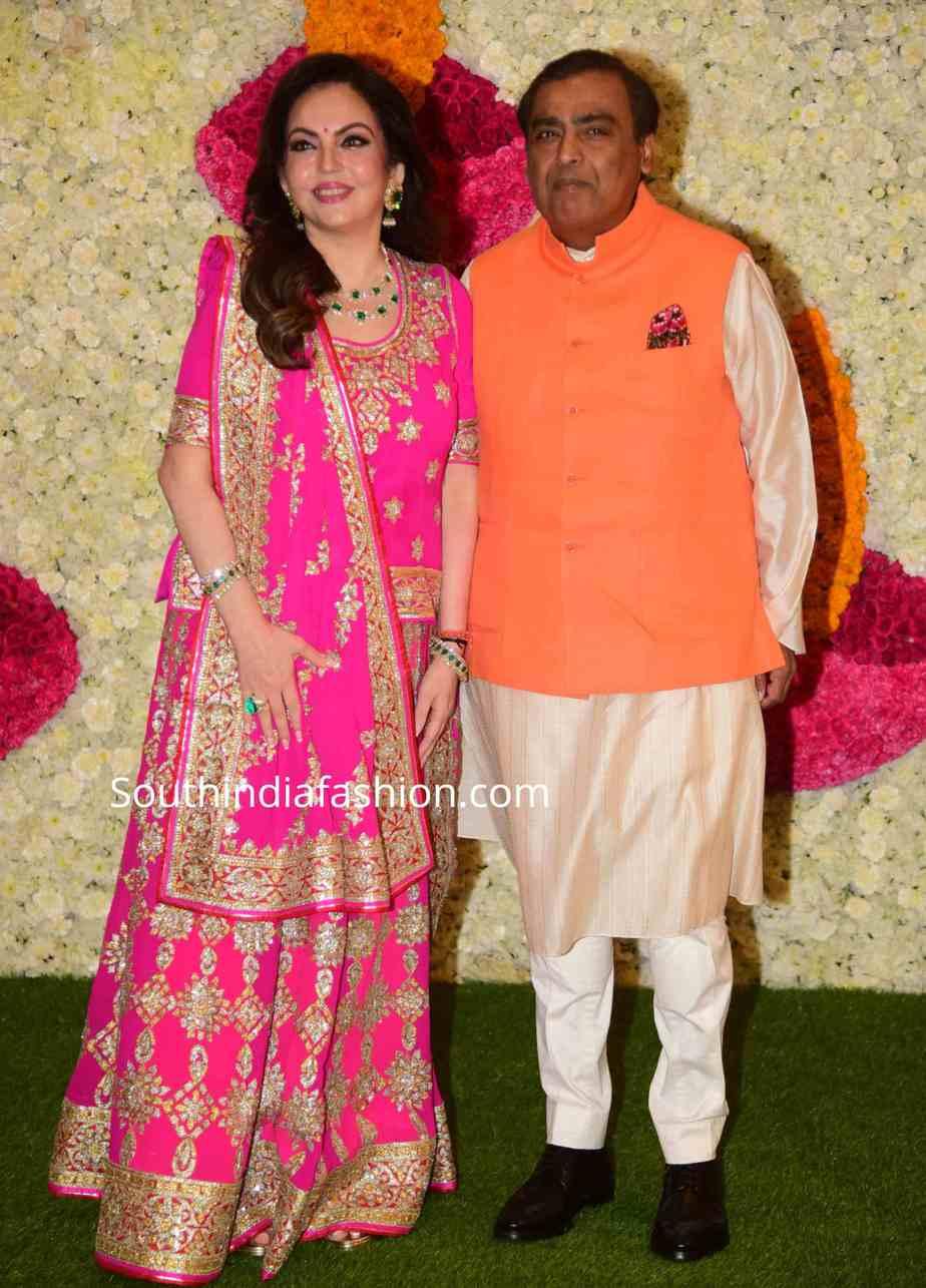 nita ambani pink lehenga at diwali party 2019