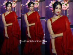 nivetha pethuraj red ruffle saree wonder woman awards