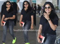 nivetha thomas jeans at hyderabad airport