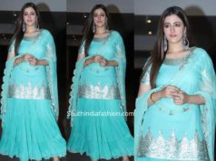 nupur sanon blue kurta sharara at jacky bhagnani diwali party 2019