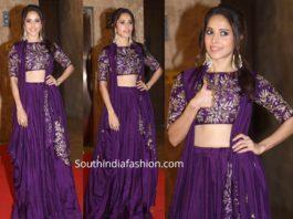 nushrat barucha in purple lehenga at ramesh taurani diwali party 2019