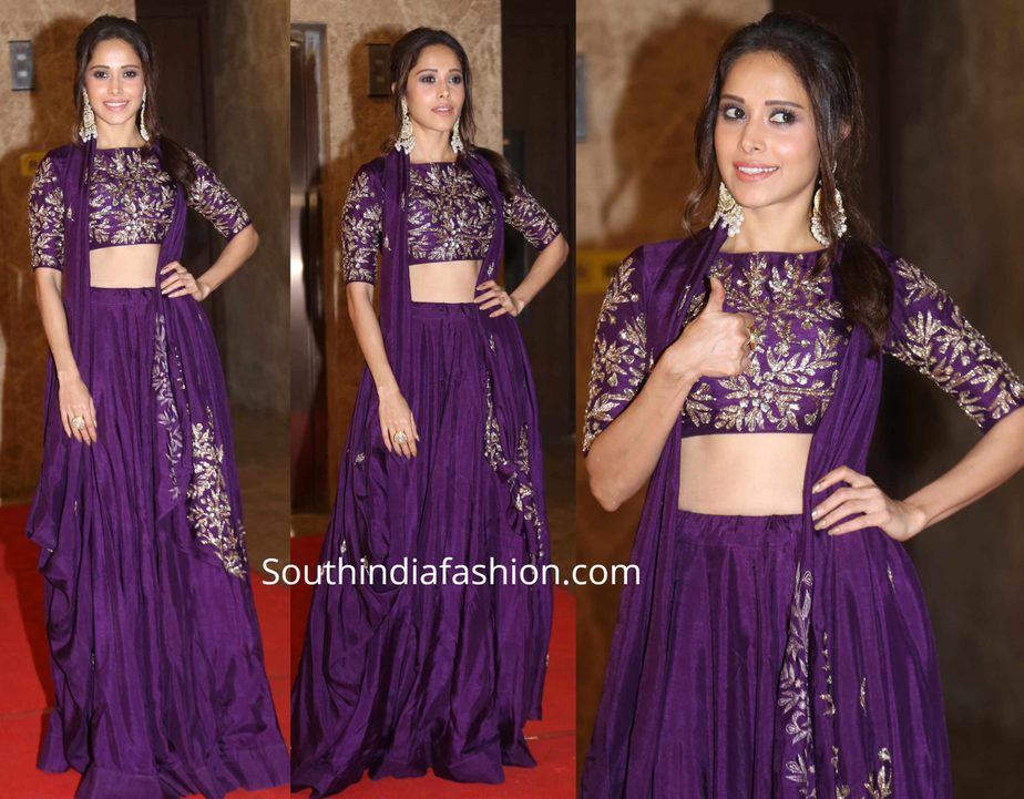nushrat barucha in purple lehenga at ramesh taurani diwali party 2019