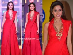 nushrat barucha red indo western dress at jio mami 2019