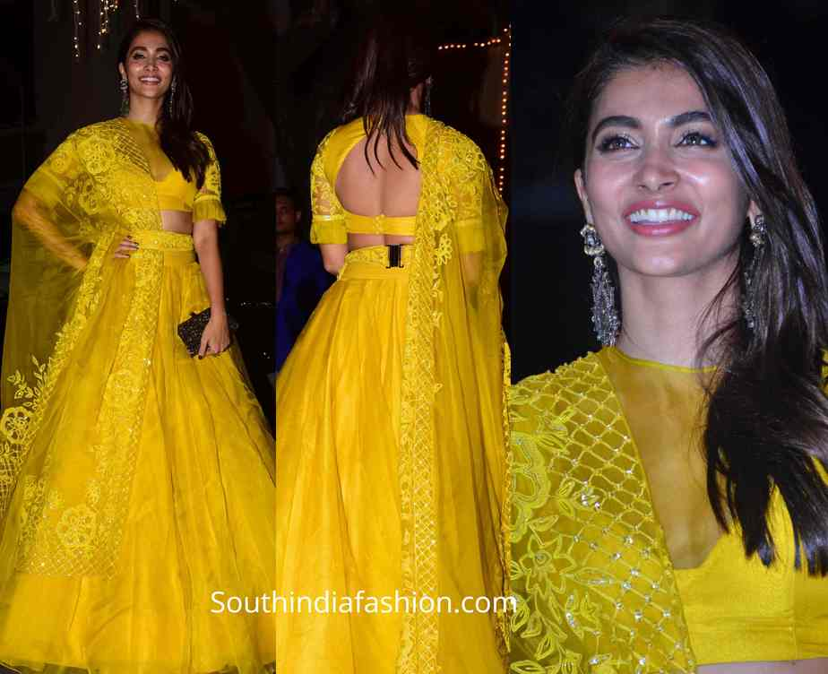 pooja hegde yellow manish malhotra lehenga at diwali party 2019 (2)